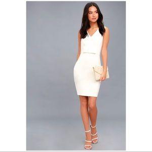LULUS Be My Bow White Sleeveless Bodycon Dress